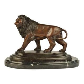 Lion Bronze Statue on Marble Base Sculpture