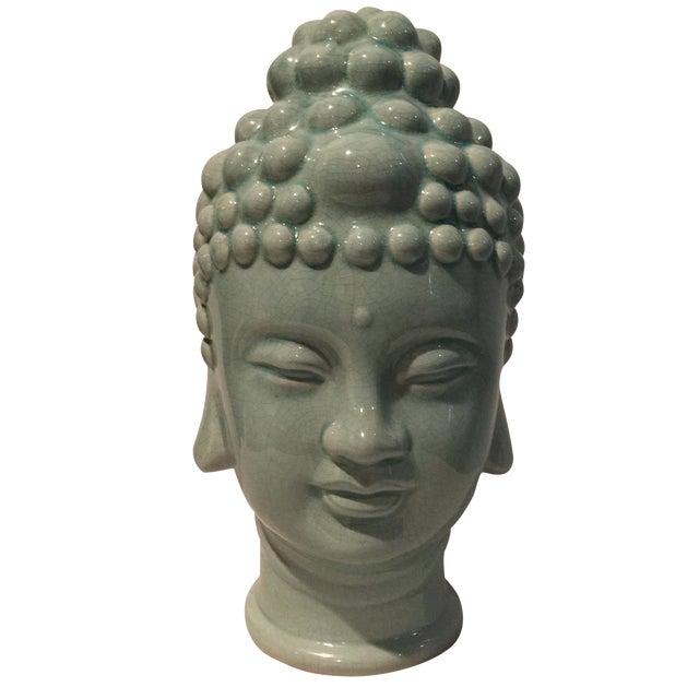 Jade Colored Buddha Head - Image 1 of 6