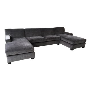 Custom Gray Euro Track Sectional Sofa