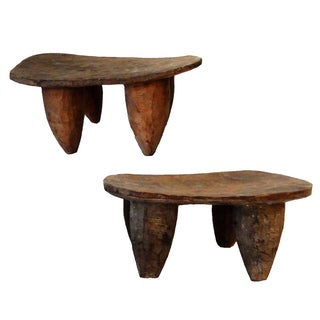 Senufo Low Milk Stools - A Pair