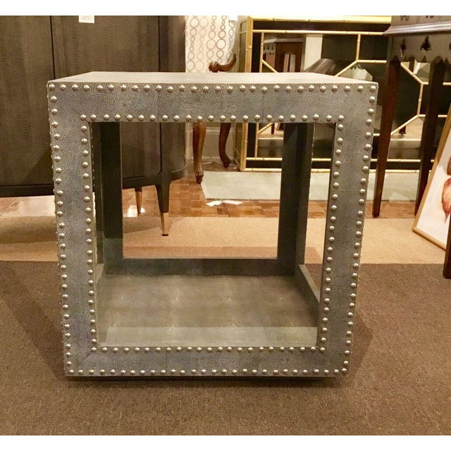 Regina Andrews Feaux Python Studded Accent Cube Table - Image 3 of 9