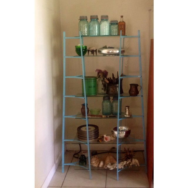 Mid-Century Industrial Metal Glass Shelving Unit - Image 3 of 10