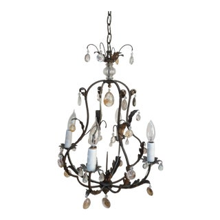 Polished Steel & Quartz Prism Chandelier