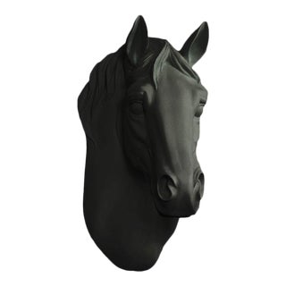 Black Faux Horse Head Wall Bust