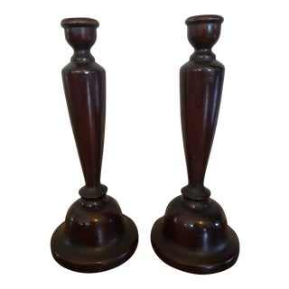 Mahogany Candle Holders - A Pair