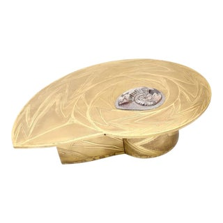 Important Marc D'Haenens Brass Coffee Table with Inlaid Polished Ammonite