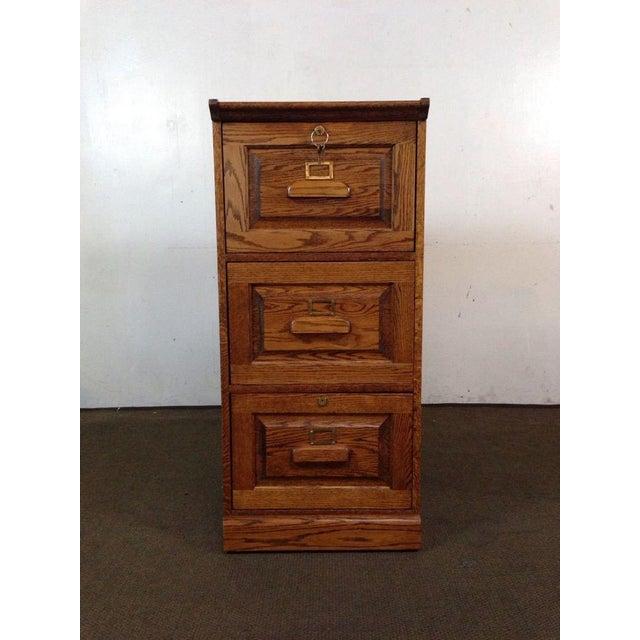 Vintage Carved Oak 3 Drawer Filing Cabinet - Image 2 of 4