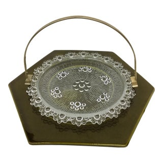 Haeger Green Platter Base With Cut Glass Insert