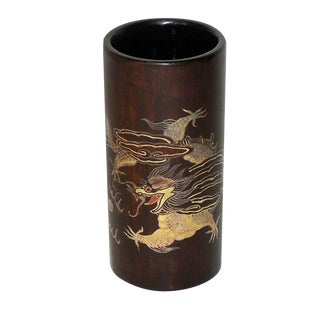 Lacquered Bamboo Brush Pot with Gilt Dragon