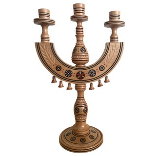 Moroccan Gypsy Hand-Carved Candelabra