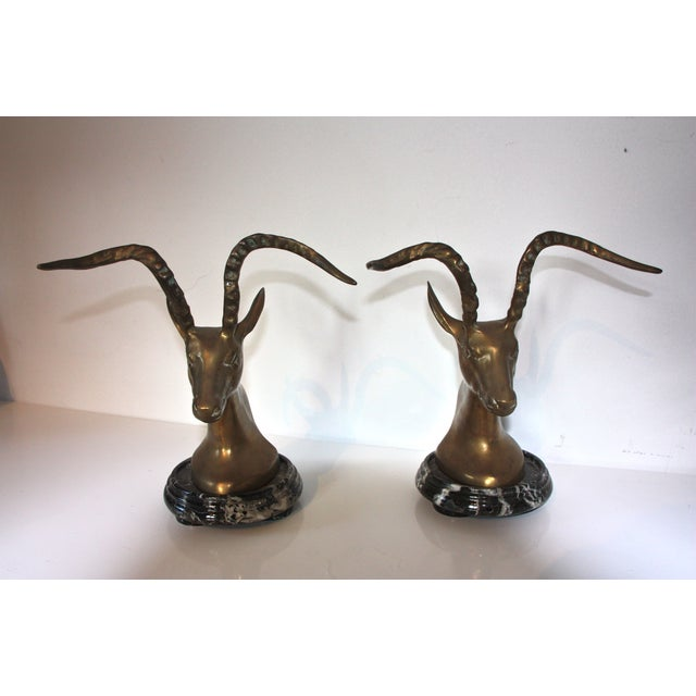 Antique brass marble impala bookends a pair chairish - Antique brass bookends ...