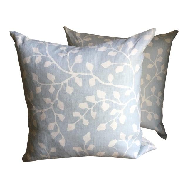 Powder Blue Linen Pillows - A Pair - Image 1 of 4
