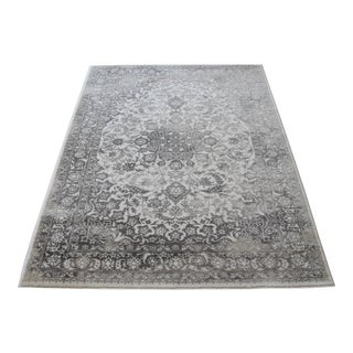 Distressed Medallion Silver Gray Rug - 8' x 10'7""