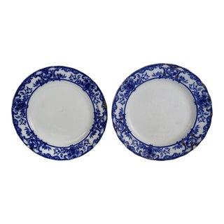Flow Blue Athol Plates, Pair