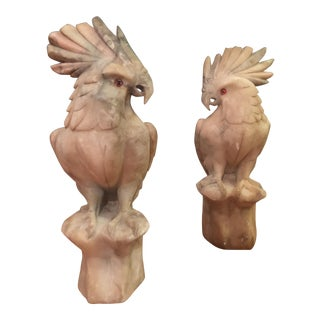Italian Hand Carved Cockatoo Sculptures - A Pair