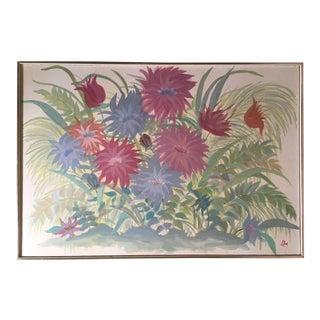 Midcentury Painting in Pastel Colors - Garden Flowers - Field of Mums