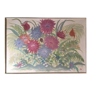 Midcentury Painting in Pastel Colors - Garden Flowers - Field of Mums