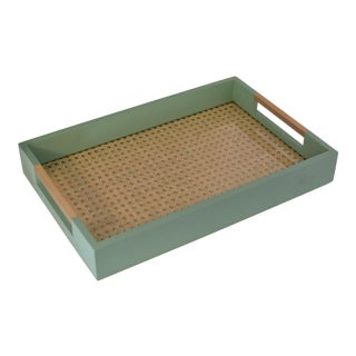 Turquoise Caned Tray