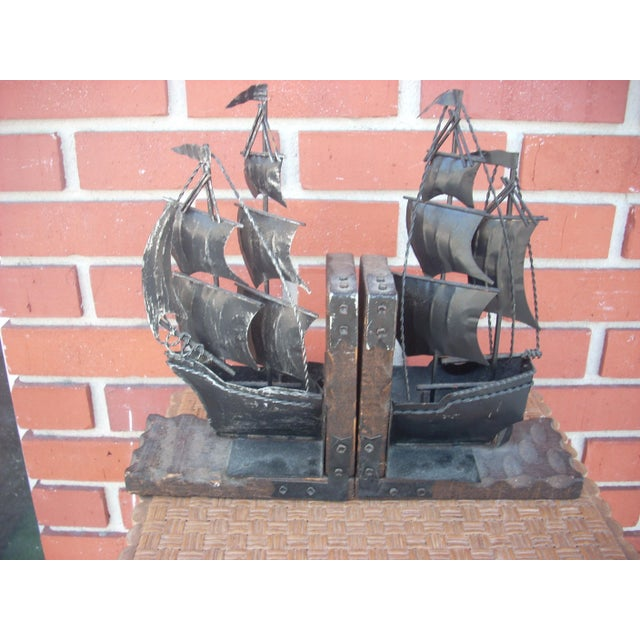 Image of Metal Sailing Ship Bookends - A Pair