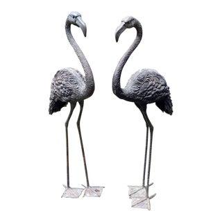 Bronze Garden Flamingos