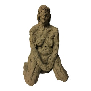 Kneeling Nude Stoneware Sculptural Study