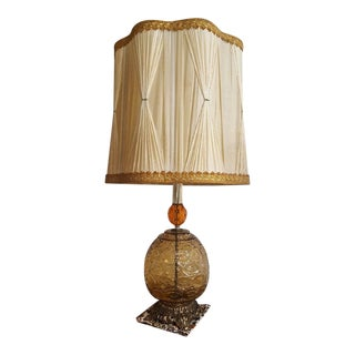Mid-Century Modern Glass & Brass Table Lamp