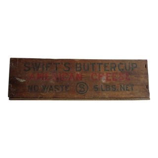 Antique Swift's Buttercup Cheese Wooden Box