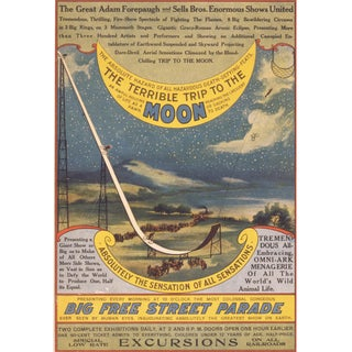 """The Terrible Trip to the Moon"" Print of Bicycle Daredevil Poster From Late 1800's"