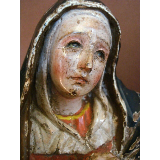18th Century Antique Spanish Colonial Saint/Virgin - Lady Of Sorrow - Image 5 of 9
