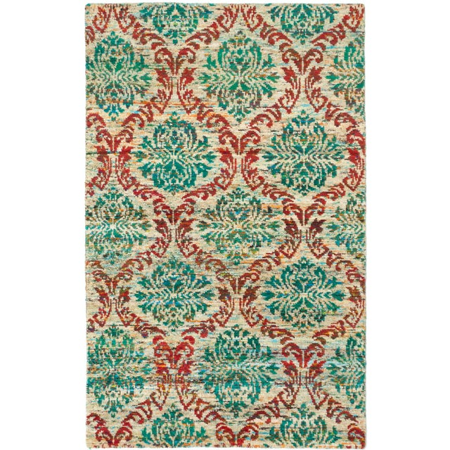 Green Hand-Knotted Sari Silk Indian Rug - 5' X 8' - Image 1 of 2