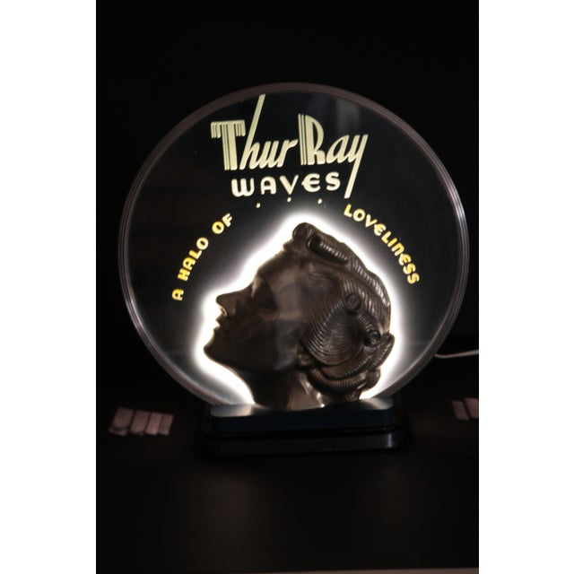 ON HOLD Original Art Deco Machine Age Lighted & Cobalt Mirrored Thur Ray 1940's Advertising Sign - Image 6 of 10
