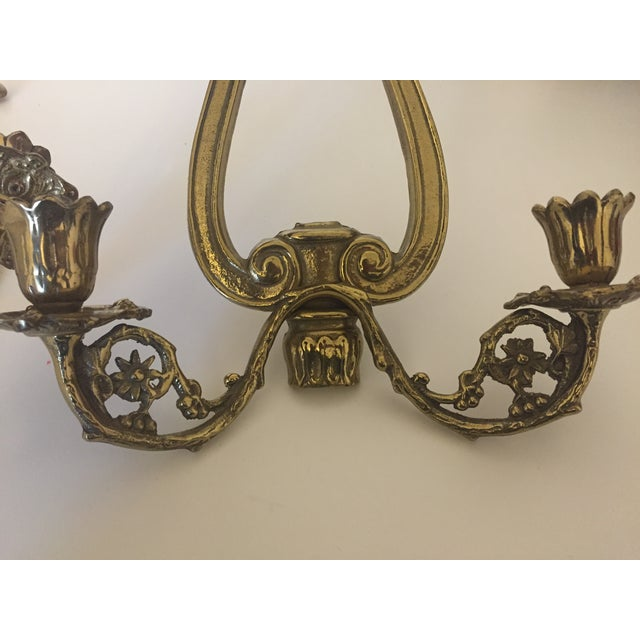 Victorian 2 Arm Candle Wall Sconce- Pair - Image 5 of 7