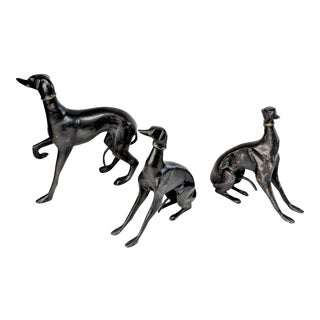 Bronze Greyhound Dog Statues - Set of 3
