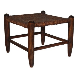 French Woven Seat Stool
