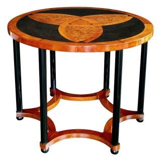 Austrian Art Deco Amboyna Inlaid Circular Table with Ebonized Supports