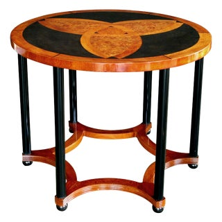 Austrian Art Deco Amboyna Inlaid Circular Table with Ebonized Supports