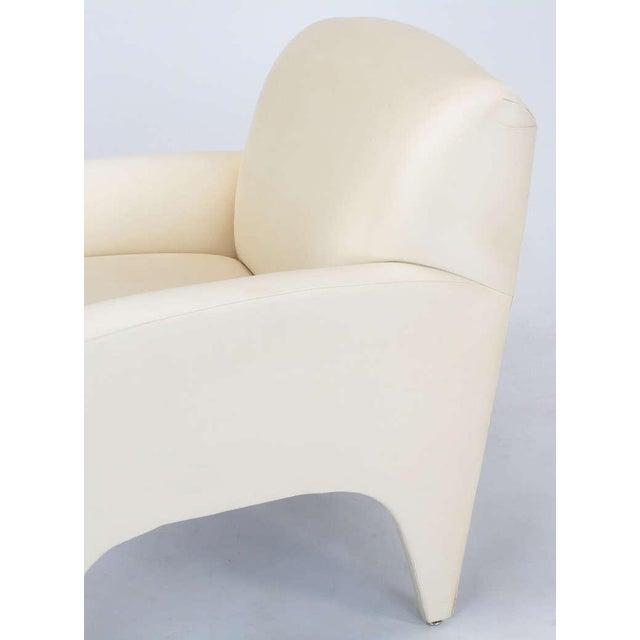 Pair Vladimir Kagan Lounge Chairs In Ivory Silk - Image 9 of 9