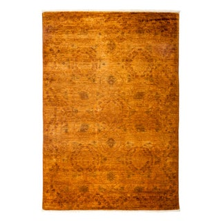 New Marigold Overdyed Hand-Knotted Rug