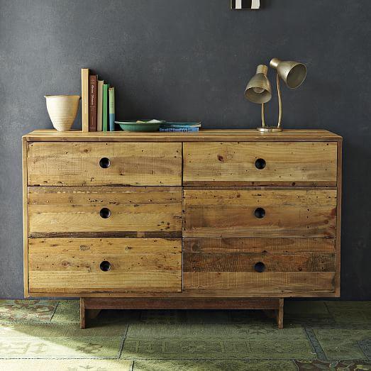 Image of Pine Emmerson Six Drawer Dresser