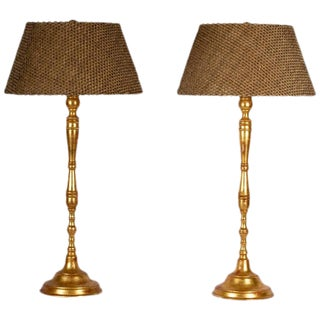 20th Century Hand-Turned Gilded Table Lamps - A Pair