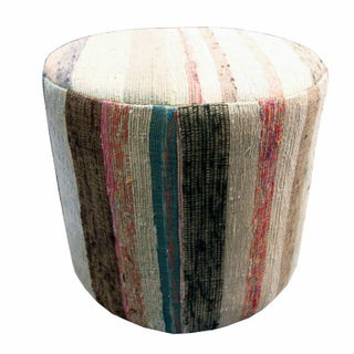 Round Ottoman with Pink, Blue, and White Stripes