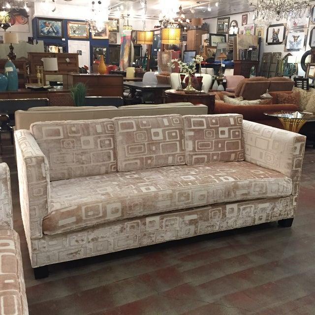 Custom Mid Century Sofa in Champagne Velvet - Image 11 of 11