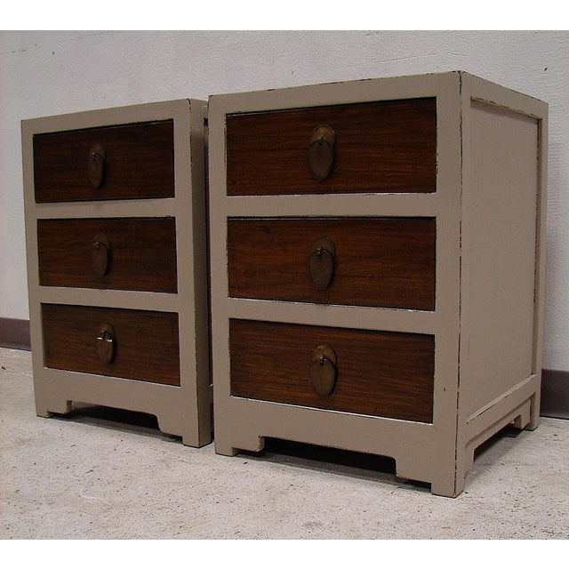 Teak Painted Night Stand Accent Table Set - Image 3 of 5