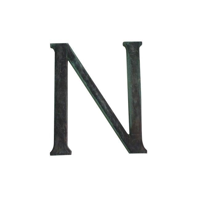 "Image of Antique 19th Century Bronze ""N"" Sign"