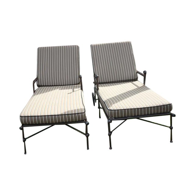 Brown outdoor chaise lounges a pair chairish for Brown chaise lounge outdoor