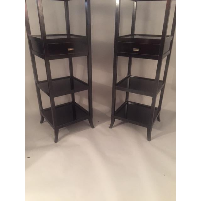 Contemporary Wood Black Lacquered Etagere Shelves - A Pair - Image 8 of 9