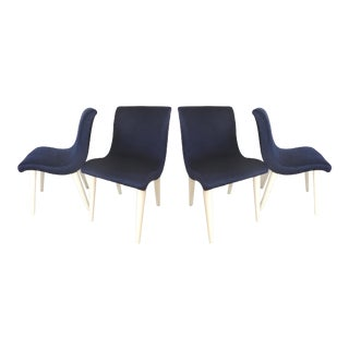 Vintage Mid-Century Blue Velvet SIde Chairs - Set of 4
