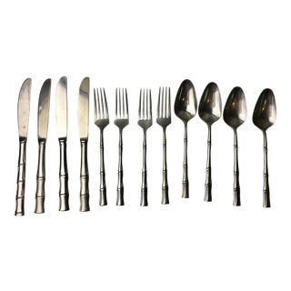 1970s Vintage Bamboo Style Dessert Silverware - Set for 4