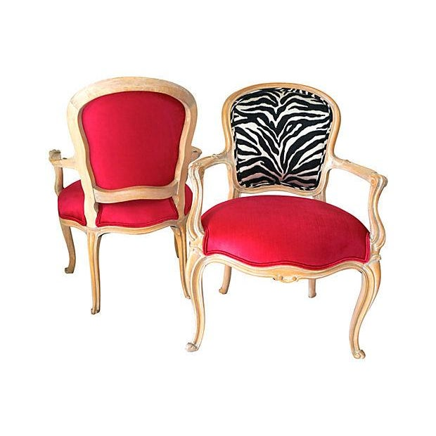 Vintage Pink & Zebra Print French Chairs - A Pair - Image 6 of 6