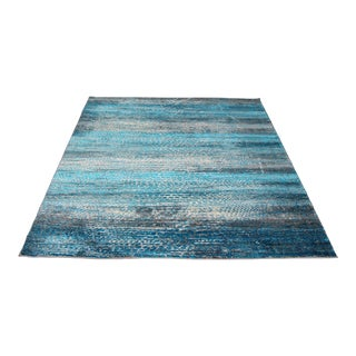 'Ocean' Blue Contemporary Rug - 7′10″ × 10′6″